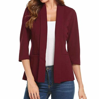 NPRADLA Women Mini Suit Casual 3/4 Sleeve Open Front Work Office Blazer Jacket Cardigan Red