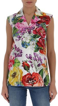 Dolce & Gabbana Floral Print Sleeveless Blouse