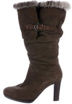 Henry Beguelin Chinchilla-Trimmed Mid-Calf Boots