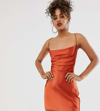 Asos Tall DESIGN Tall cami mini slip dress in high shine satin with lace up back-Brown