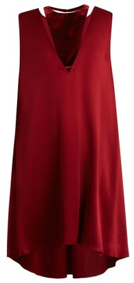 Valentino Velvet-panel Satin Dress - Womens - Burgundy