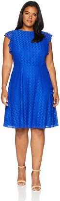 London Times Women's Plus Size Flutter Sleeve Round Neck FIT and Flare Dress