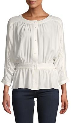Frame Silk Buttoned Peplum Top