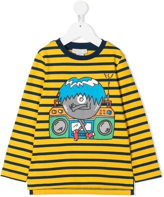 Stella McCartney Kids boombox print striped T-shirt