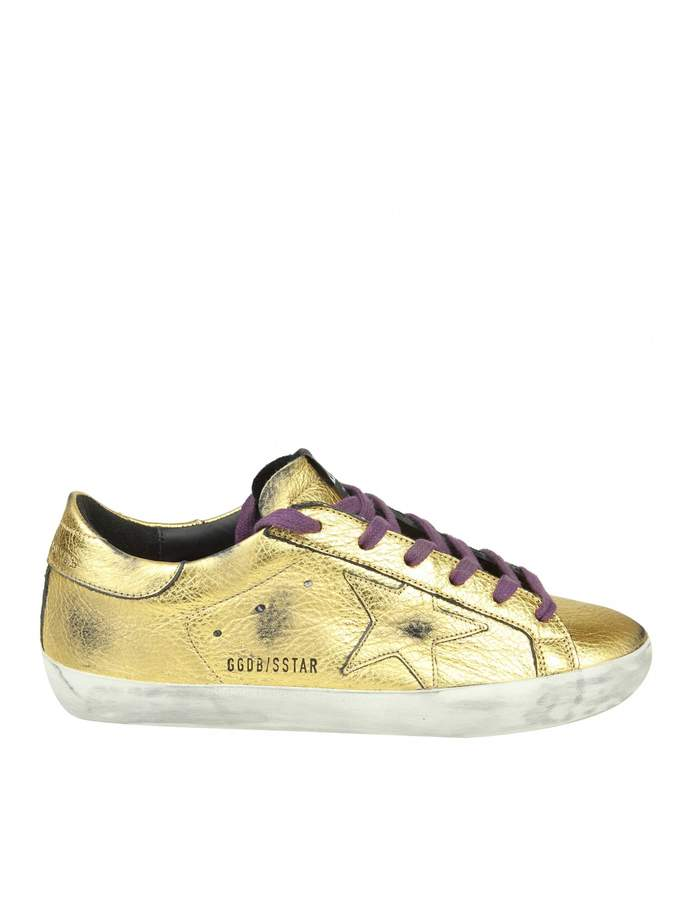 Golden Goose Sneakers superstar In Gold Laminated Leather