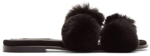 Alexander Wang Black Ava Fur Slides