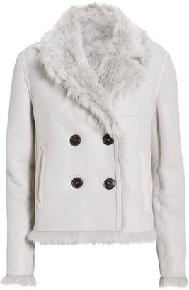 Yves Salomon Reversible Double-Breasted Shearling Jacket