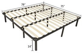 Overstock Wooden Bed Slat and Metal lron Stand Iron Bed Queen/King