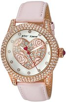 Betsey Johnson Pearlized Heart Watch, Color:Pink (Model: BJ00019-75)