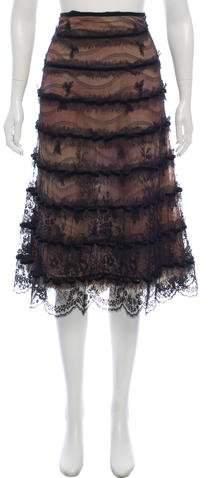J. Mendel Fur-Trimmed Midi Skirt