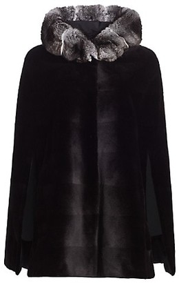 The Fur Salon Zac Posen For Chinchilla Fur-Trimmed Hooded Reversible Mink Fur Cape