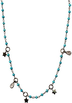 ADORNIA Black Rhodium Plated Sterling Silver Turquoise Beaded Star & Crystal Charm Rosary Necklace