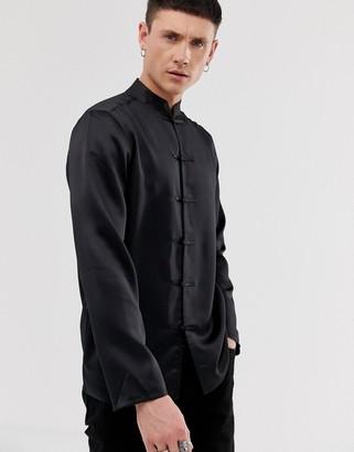 ASOS DESIGN regular fit satin mandarin collar shirt in black