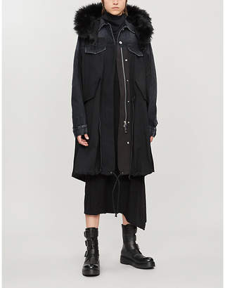 Sacai Deconstructed denim and nylon-blend coat