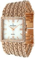 Peugeot Women's Bracelet Watch with Cobra Chain Link Bracelet and Rose Gold Mother of Pearl Dial