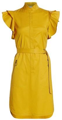 Akris Punto Ruffle Flounce-Sleeve Belted Poplin Dress