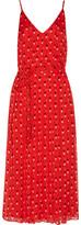 Christopher Kane Pleated Printed Silk Crepe De Chine Midi Dress