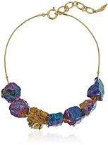"""Diane von Furstenberg Rainbow Rocks"""" Rainbow Quartz Stone Frontal Necklace, 17"""" + 2""""Extender"""