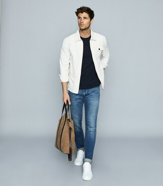 Reiss Joint - Casual Worker Denim Jacket in Ecru