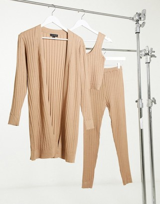 Qed London 3 piece ribbed loungewear set in camel