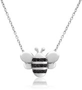 ASPCA® Tender Voices® Sterling Silver Bee Necklace with Black Diamond Accents