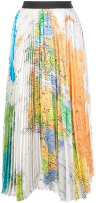 Sacai World Map Pleated Skirt