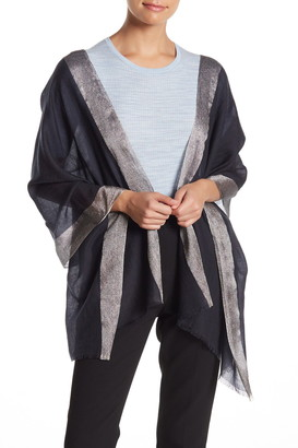 Portolano Merino Wool Metallic Border Scarf
