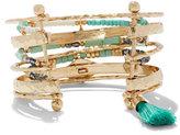 New York & Co. Beaded & Tassel-Accent Bangle Cuff Bracelet