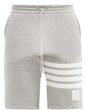 Thom Browne Four-bar Intarsia Cotton-jersey Shorts - Mens - Light Grey