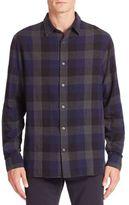 Vince Melange Buffalo Check Button-Down Shirt