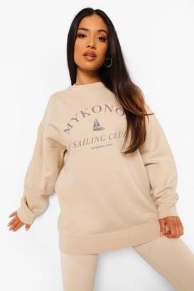 boohoo Petite Mykonos Printed Oversized Sweatshirt