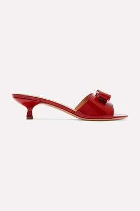 Salvatore Ferragamo Ginostra Bow-embellished Patent-leather Mules - Red