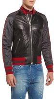 Givenchy Mixed-Media Bomber Jacket, Black Multi