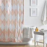 The Emily & Meritt Harlequin Pintuck Shower Curtain, Pink Cloud