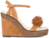 Castaner pom-pom detail wedge sandals - women - Leather/Suede - 37