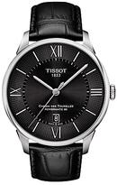 Tissot T0994071605800 Chemin Des Tourelles Powermatic 80 Automatic Date Leather Strap Watch, Black