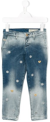Diesel Heart And Polka Dot Embroidered Jeans