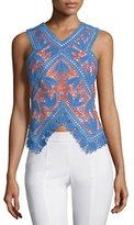 Tory Burch Evie Lace Crochet Top, Hudson Blue/Poppy Red