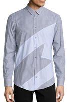 MSGM Logo Striped Button-Down Shirt
