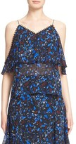 Yigal Azrouel 'Midnight Fern' Print Stretch Silk Cold Shoulder Top