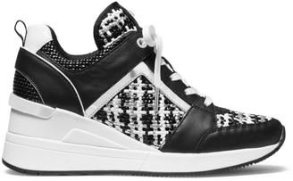 Michael Kors Georgie Tweed & Leather Wedge Sneakers