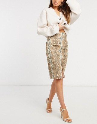 ASOS DESIGN leather-look pencil skirt with split detail in snake print