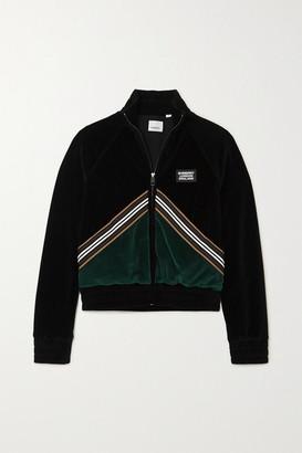 Burberry Striped Two-tone Velour Jacket - Black