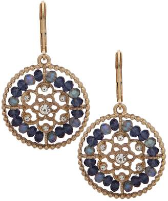 lonna & lilly Basic Antiqued Goldtone Crystal Drop Earrings
