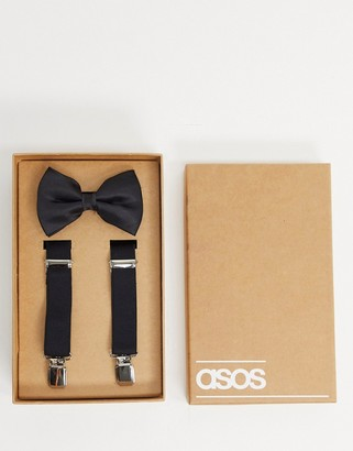 Asos Design DESIGN brace and bow tie set in black