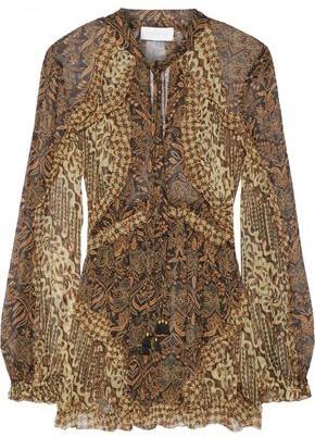 Zimmermann Tali Batik Floating Ruffle-trimmed Printed Silk-georgette Blouse