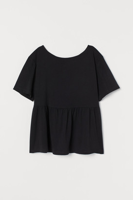H&M Boat-neck Jersey Top - Black
