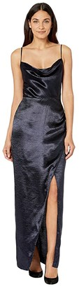 WAYF The Molly Cowl Neck Faux Wrap Dress (Navy) Women's Dress
