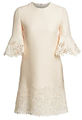 Valentino Wool Silk Flutter Sleeve Lace Dress