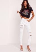 Missguided Petite High Waisted Multi Slash Jeans White